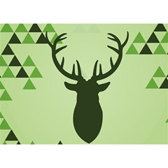 Modern Geometric Black And Green Christmas Deer Birthday Cake 3d Greeting Card (7x5)