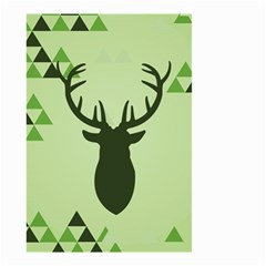 Modern Geometric Black And Green Christmas Deer Small Garden Flag (two Sides)