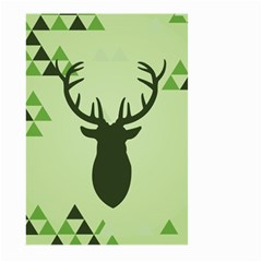 Modern Geometric Black And Green Christmas Deer Large Garden Flag (Two Sides)