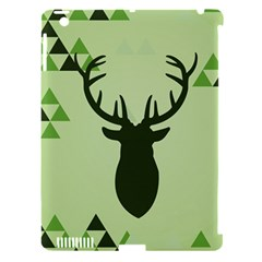 Modern Geometric Black And Green Christmas Deer Apple iPad 3/4 Hardshell Case (Compatible with Smart Cover)