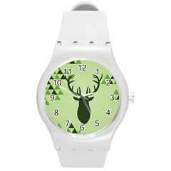 Modern Geometric Black And Green Christmas Deer Round Plastic Sport Watch (M)