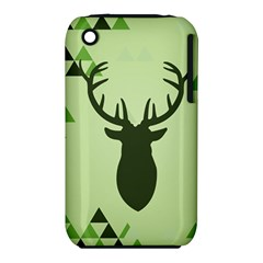 Modern Geometric Black And Green Christmas Deer Apple iPhone 3G/3GS Hardshell Case (PC+Silicone)