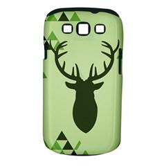 Modern Geometric Black And Green Christmas Deer Samsung Galaxy S III Classic Hardshell Case (PC+Silicone)