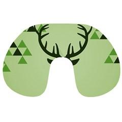 Modern Geometric Black And Green Christmas Deer Travel Neck Pillows