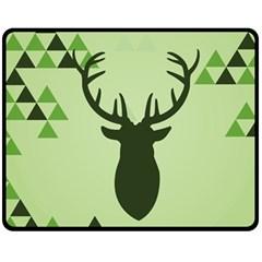 Modern Geometric Black And Green Christmas Deer Double Sided Fleece Blanket (Medium)
