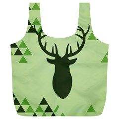 Modern Geometric Black And Green Christmas Deer Full Print Recycle Bags (L)
