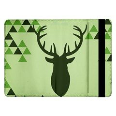Modern Geometric Black And Green Christmas Deer Samsung Galaxy Tab Pro 12 2  Flip Case
