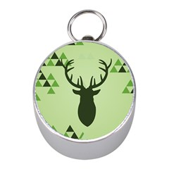 Modern Geometric Black And Green Christmas Deer Mini Silver Compasses