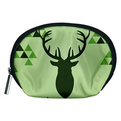 Modern Geometric Black And Green Christmas Deer Accessory Pouches (Medium)