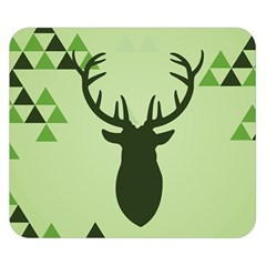 Modern Geometric Black And Green Christmas Deer Double Sided Flano Blanket (Small)
