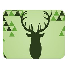 Modern Geometric Black And Green Christmas Deer Double Sided Flano Blanket (large)