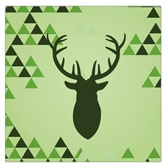 Modern Geometric Black And Green Christmas Deer Large Satin Scarf (Square)