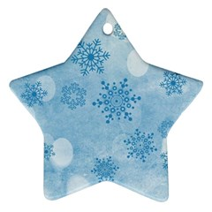 Winter Bokeh Blue Ornament (Star)
