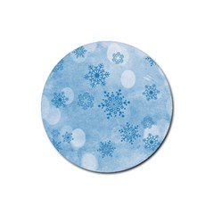 Winter Bokeh Blue Rubber Round Coaster (4 pack)