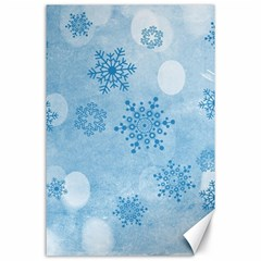 Winter Bokeh Blue Canvas 24  X 36