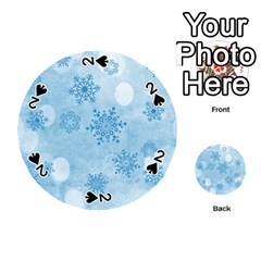Winter Bokeh Blue Playing Cards 54 (round)