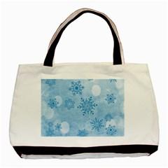 Winter Bokeh Blue Basic Tote Bag (two Sides)