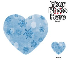 Winter Bokeh Blue Multi-purpose Cards (Heart)