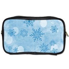 Winter Bokeh Blue Toiletries Bags