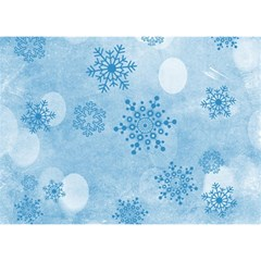 Winter Bokeh Blue Birthday Cake 3d Greeting Card (7x5)