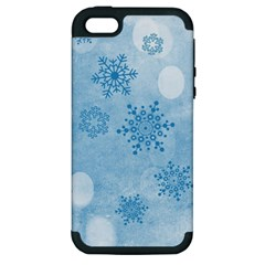 Winter Bokeh Blue Apple iPhone 5 Hardshell Case (PC+Silicone)