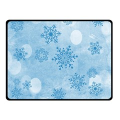Winter Bokeh Blue Double Sided Fleece Blanket (Small)