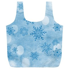 Winter Bokeh Blue Full Print Recycle Bags (L)