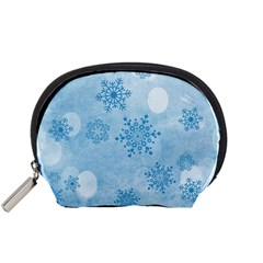 Winter Bokeh Blue Accessory Pouches (Small)