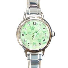 Winter Bokeh Green Round Italian Charm Watches