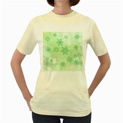 Winter Bokeh Green Women s Yellow T Shirt