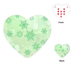 Winter Bokeh Green Playing Cards (Heart)
