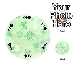 Winter Bokeh Green Playing Cards 54 (Round)