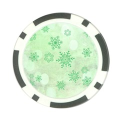Winter Bokeh Green Poker Chip Card Guards (10 pack)