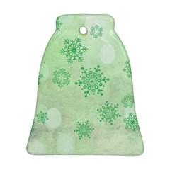 Winter Bokeh Green Ornament (Bell)