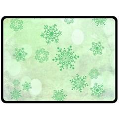 Winter Bokeh Green Double Sided Fleece Blanket (large)