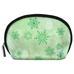 Winter Bokeh Green Accessory Pouches (Large)