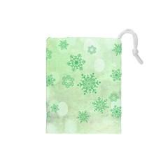 Winter Bokeh Green Drawstring Pouches (Small)