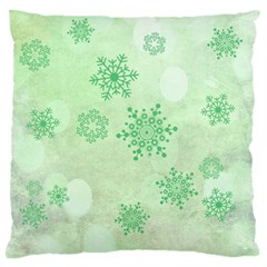 Winter Bokeh Green Standard Flano Cushion Cases (One Side)