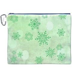 Winter Bokeh Green Canvas Cosmetic Bag (XXXL)