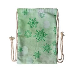 Winter Bokeh Green Drawstring Bag (Small)