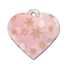 Winter Bokeh Pink Dog Tag Heart (One Side)