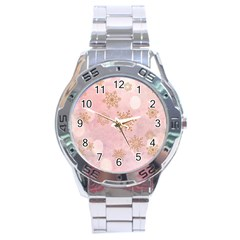 Winter Bokeh Pink Stainless Steel Men s Watch
