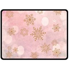 Winter Bokeh Pink Double Sided Fleece Blanket (large)