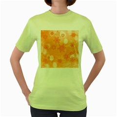 Winter Bokeh Red Women s Green T Shirt
