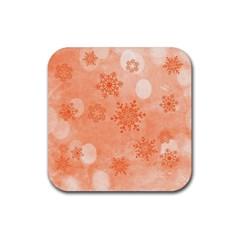 Winter Bokeh Red Rubber Coaster (Square)