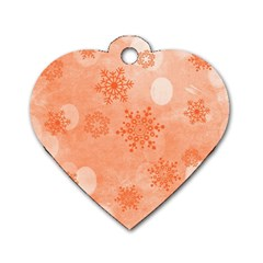 Winter Bokeh Red Dog Tag Heart (Two Sides)