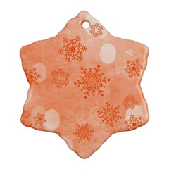 Winter Bokeh Red Snowflake Ornament (2 Side)