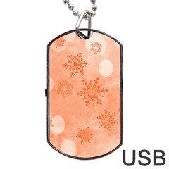 Winter Bokeh Red Dog Tag USB Flash (One Side)