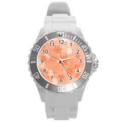 Winter Bokeh Red Round Plastic Sport Watch (L)