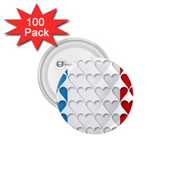 France Hearts Flag 1.75  Buttons (100 pack)